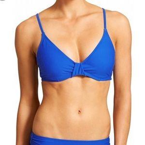 ATHLETA blue underwire bikini top Leila sz 36 D/DD